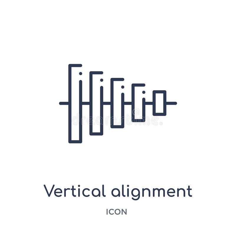 Linear vertical alignment icon from Geometric figure outline collection. Thin line vertical alignment icon isolated on white stock illustration