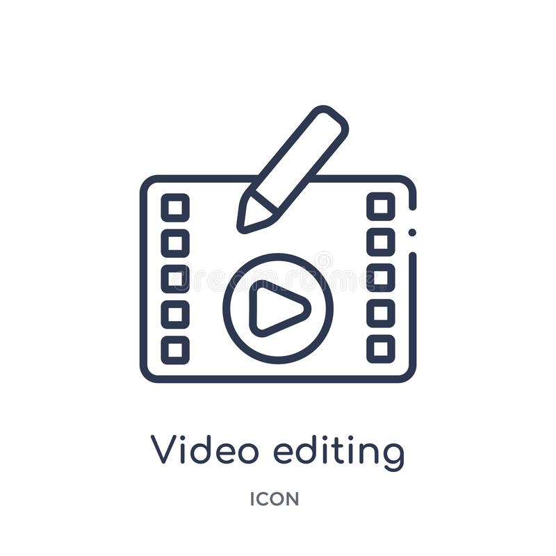 Linear video editing icon from Entertainment and arcade outline collection. Thin line video editing vector isolated on white royalty free illustration