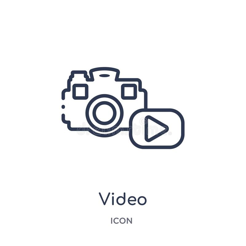 Linear video icon from Blogger and influencer outline collection. Thin line video vector isolated on white background. video stock illustration