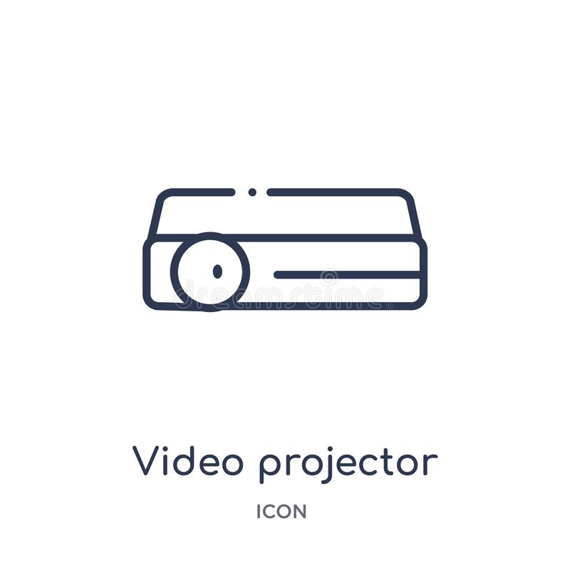 Linear video projector icon from Hardware outline collection. Thin line video projector icon isolated on white background. video royalty free illustration