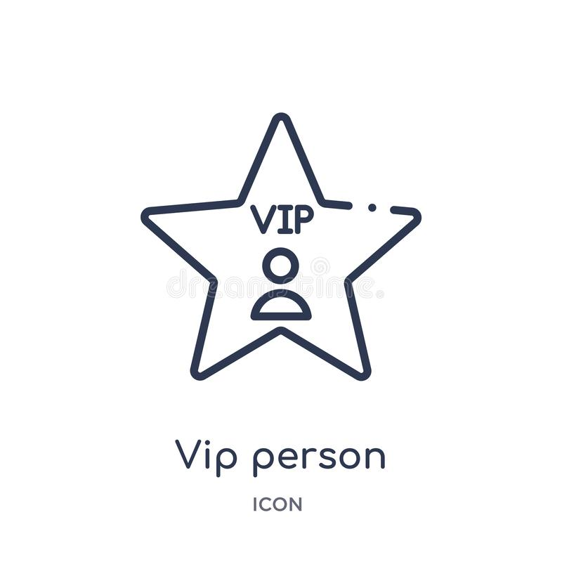 Linear vip person icon from Cinema outline collection. Thin line vip person vector isolated on white background. vip person trendy royalty free illustration