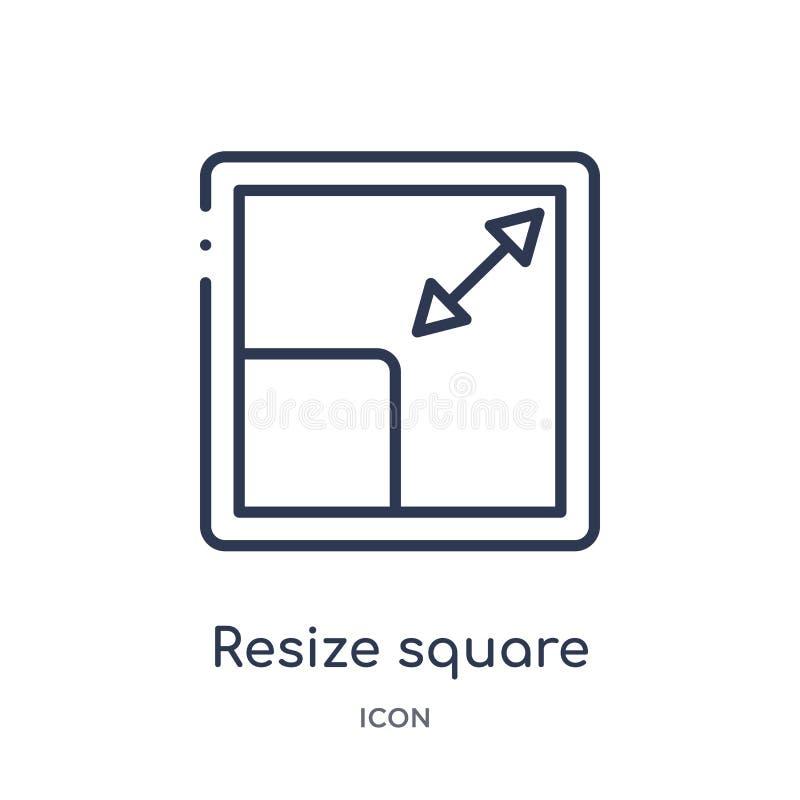 Linear vuelva a clasificar según el tamaño el icono cuadrado de la colección del esquema de la medida La línea fina vuelve a clas ilustración del vector