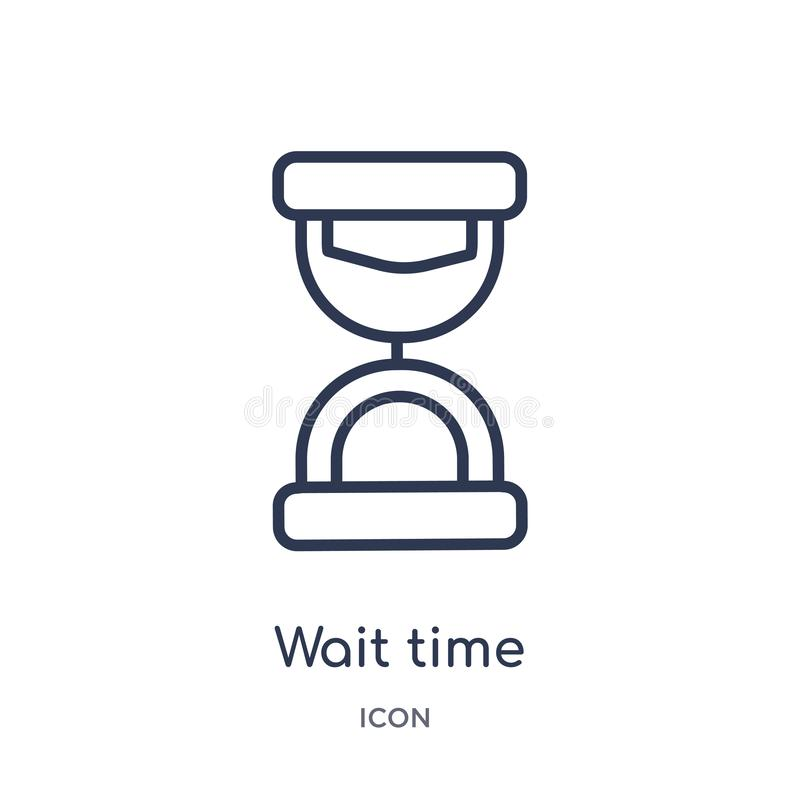 Linear wait time icon from Delivery and logistics outline collection. Thin line wait time vector isolated on white background. stock illustration