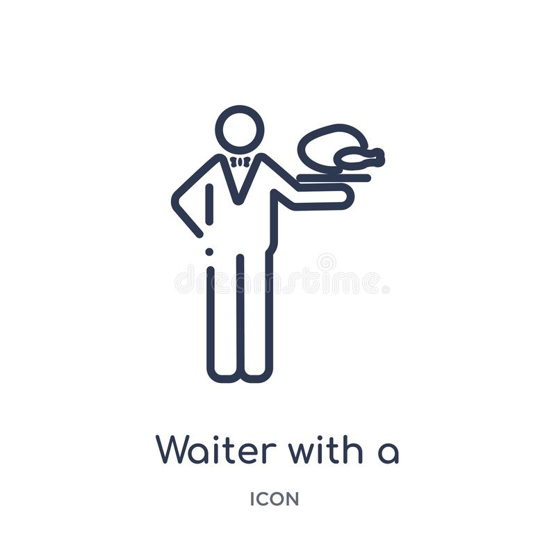 Linear waiter with a roast chicken icon from Food outline collection. Thin line waiter with a roast chicken icon isolated on white vector illustration