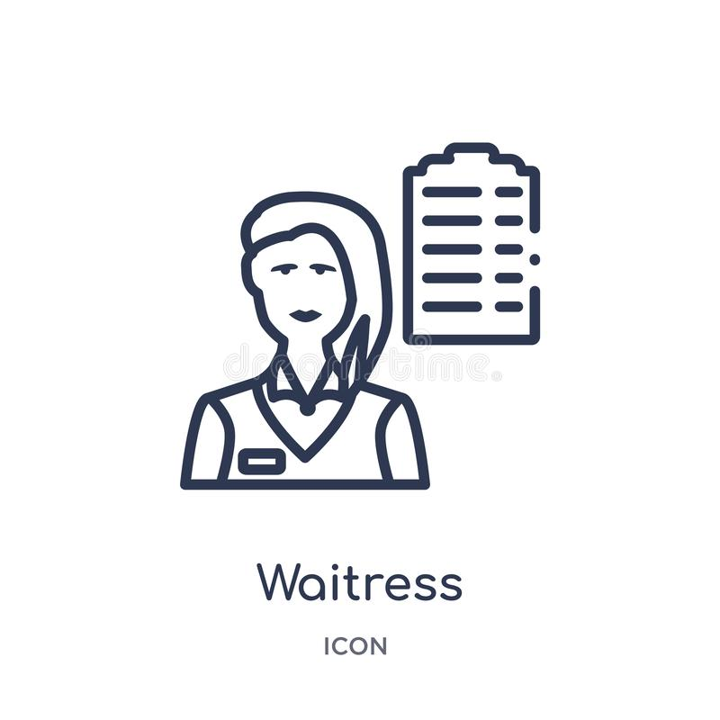 Linear waitress icon from Alcohol outline collection. Thin line waitress vector isolated on white background. waitress trendy royalty free illustration