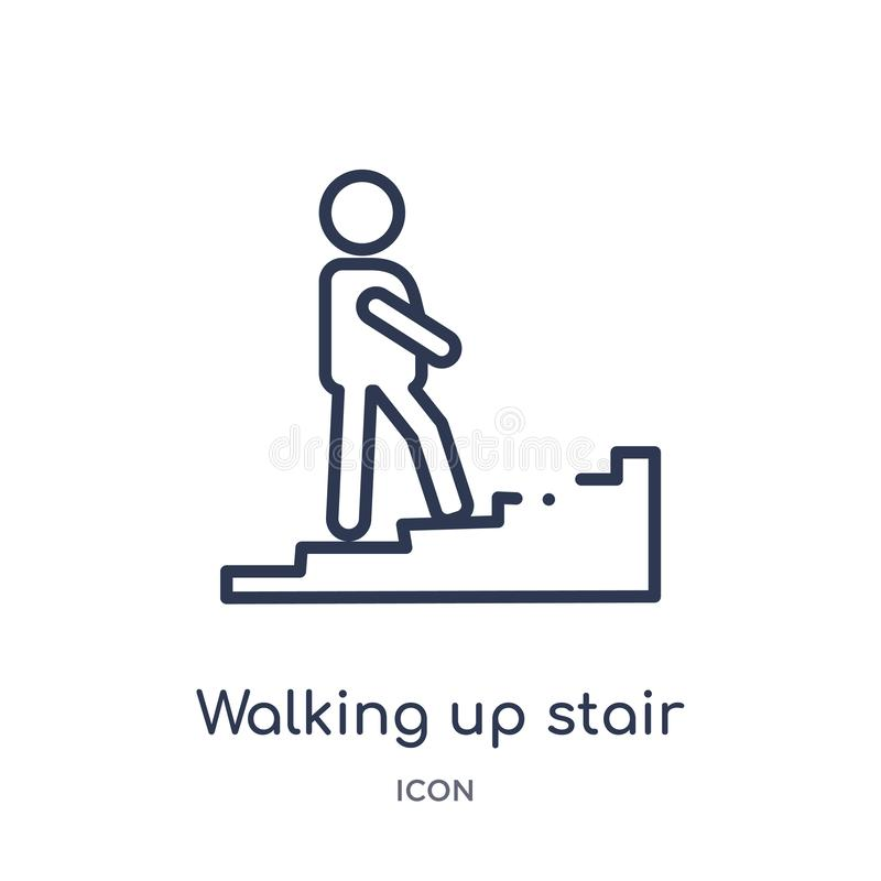 Linear walking up stair icon from Maps and Flags outline collection. Thin line walking up stair icon isolated on white background. Walking up stair trendy royalty free illustration