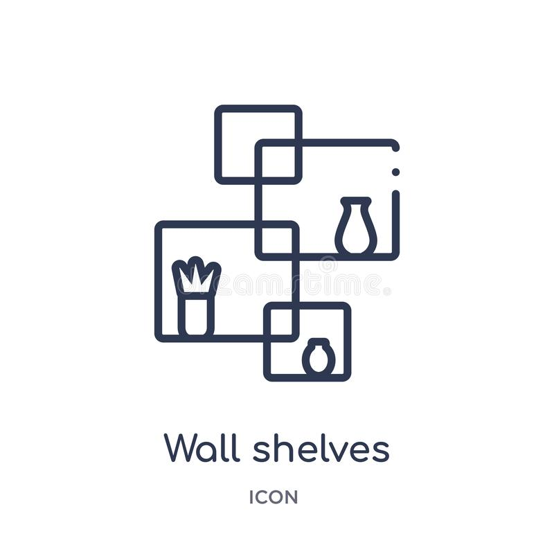 Linear wall shelves icon from Furniture and household outline collection. Thin line wall shelves icon isolated on white background vector illustration