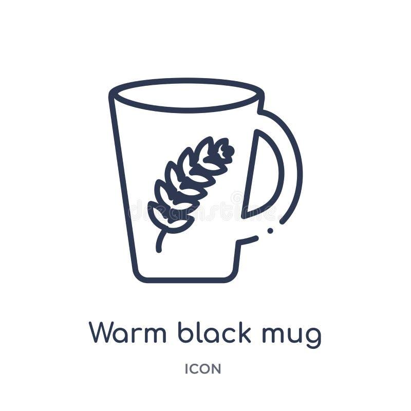 Linear warm black mug icon from Food outline collection. Thin line warm black mug icon isolated on white background. warm black. Mug trendy illustration vector illustration