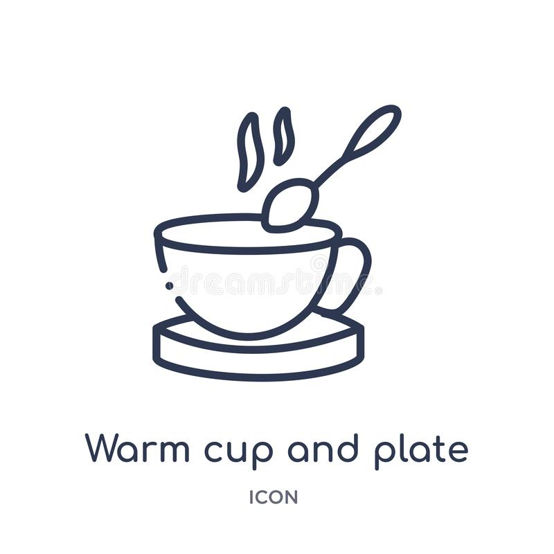 Linear warm cup and plate icon from Food outline collection. Thin line warm cup and plate icon isolated on white background. warm stock illustration