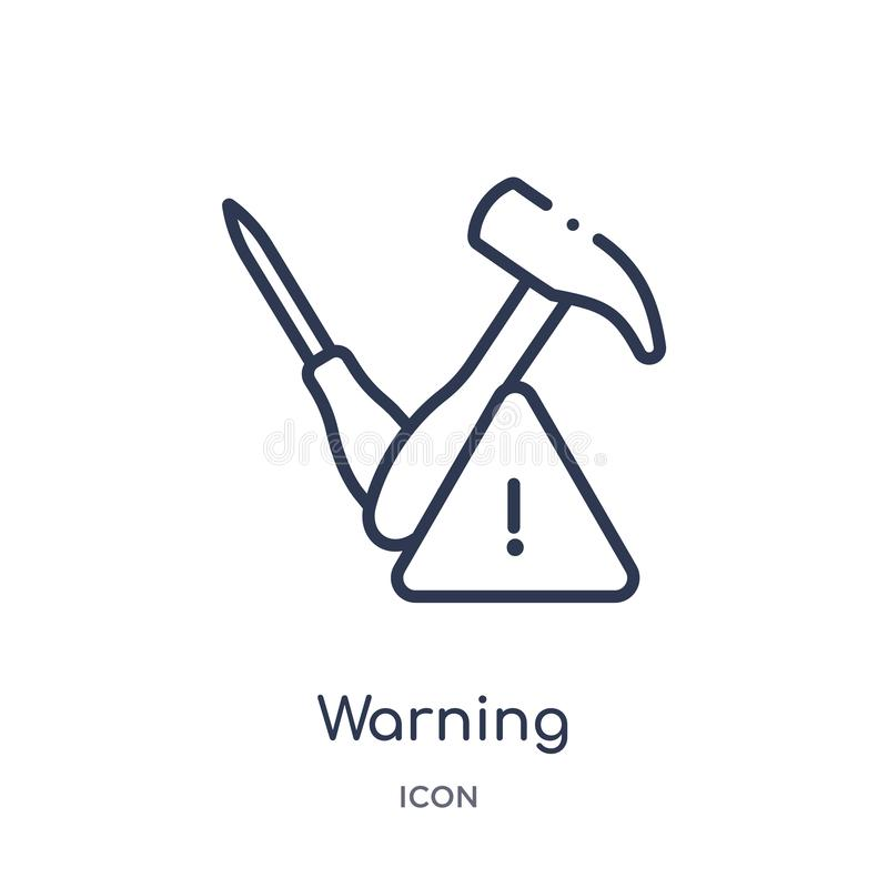 Linear warning icon from Construction tools outline collection. Thin line warning vector isolated on white background. warning royalty free illustration