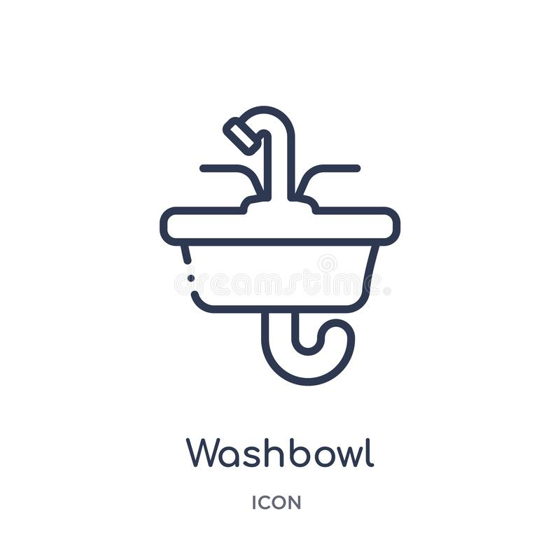 Linear washbowl icon from Hygiene outline collection. Thin line washbowl icon isolated on white background. washbowl trendy vector illustration