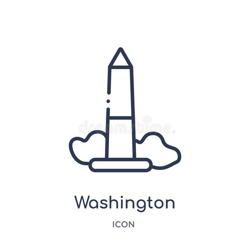 Linear washington monument icon from Buildings outline collection. Thin line washington monument vector isolated on white vector illustration