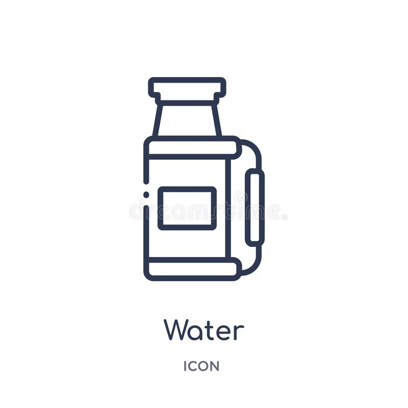 Linear water icon from Camping outline collection. Thin line water vector isolated on white background. water trendy illustration royalty free illustration