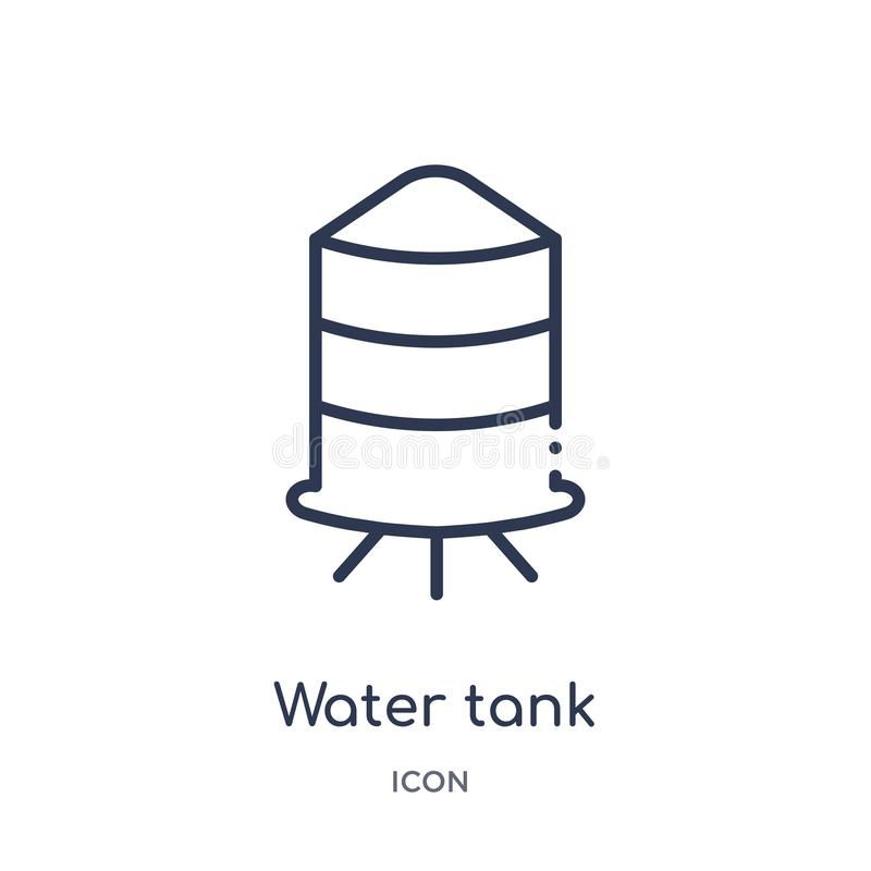 Linear water tank icon from Industry outline collection. Thin line water tank icon isolated on white background. water tank trendy vector illustration