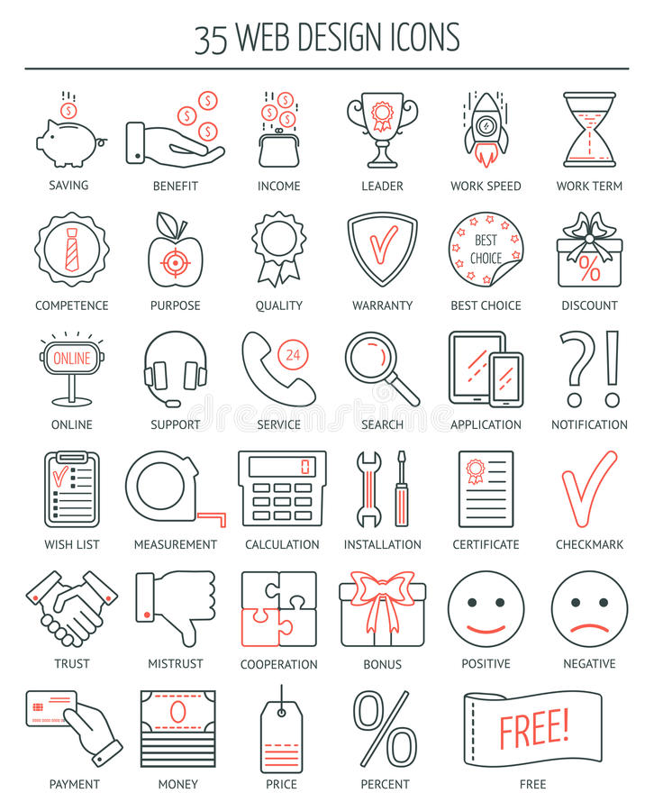 Linear Web Design Icons. Modern Line Icons For Business, Web ...