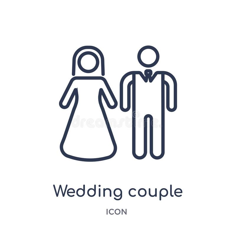 Linear wedding couple icon from Birthday party outline collection. Thin line wedding couple vector isolated on white background. vector illustration
