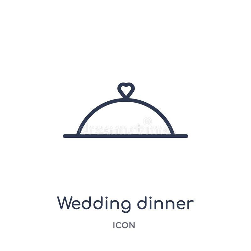 Linear wedding dinner icon from Birthday party outline collection. Thin line wedding dinner vector isolated on white background. stock illustration