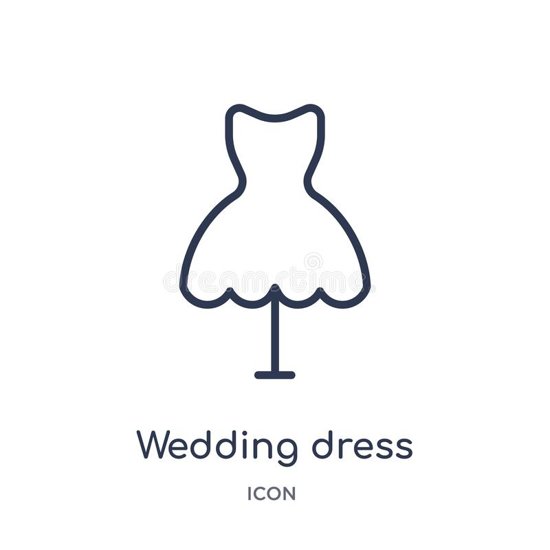 Linear wedding dress icon from Birthday party outline collection. Thin line wedding dress vector isolated on white background. vector illustration