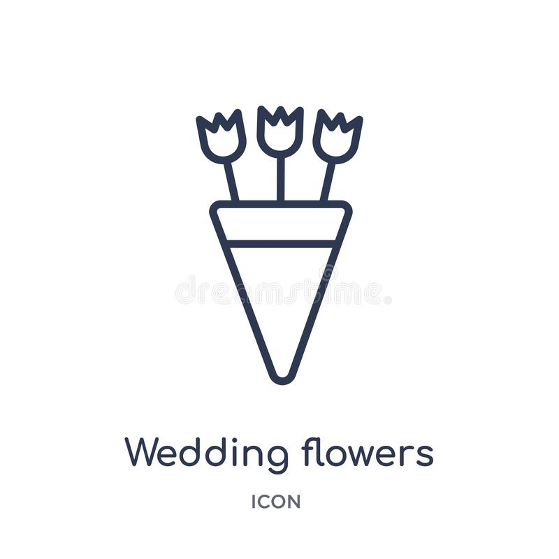Linear wedding flowers icon from Birthday party outline collection. Thin line wedding flowers vector isolated on white background royalty free illustration