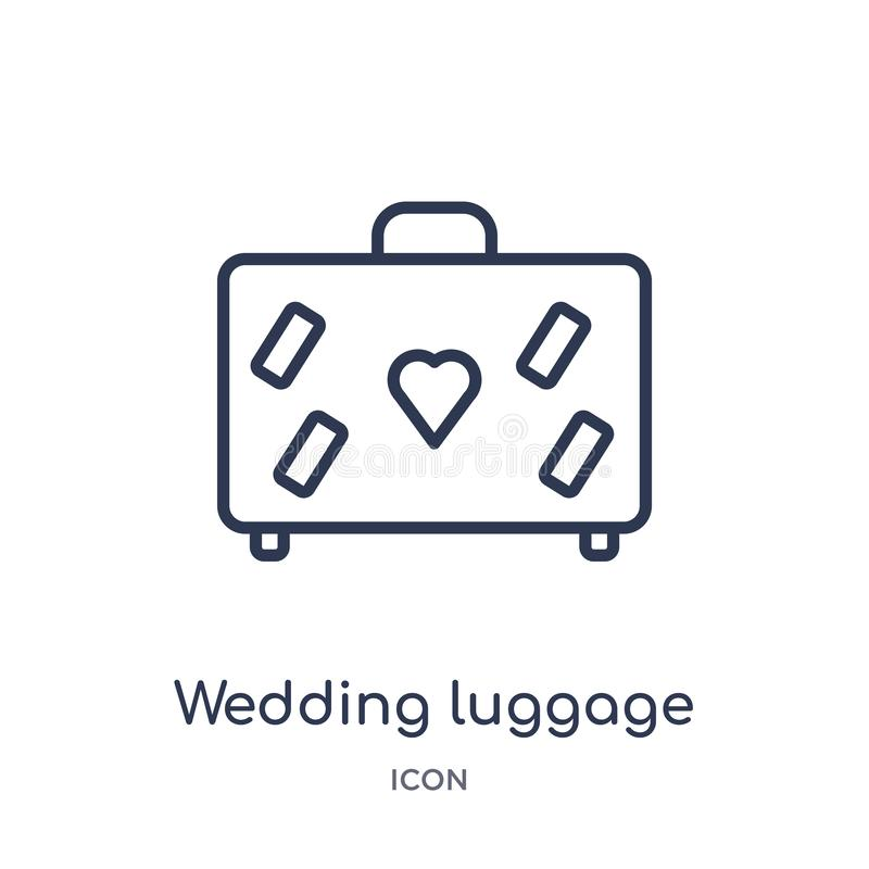 Linear wedding luggage icon from Birthday party outline collection. Thin line wedding luggage vector isolated on white background vector illustration