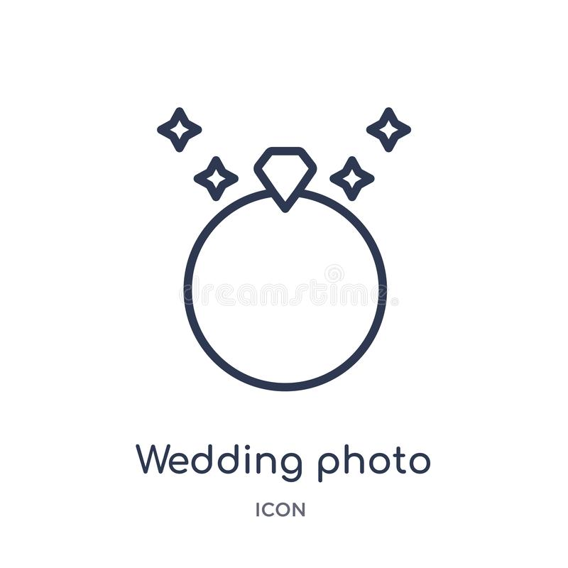 Linear wedding photo icon from Birthday party outline collection. Thin line wedding photo vector isolated on white background. stock illustration