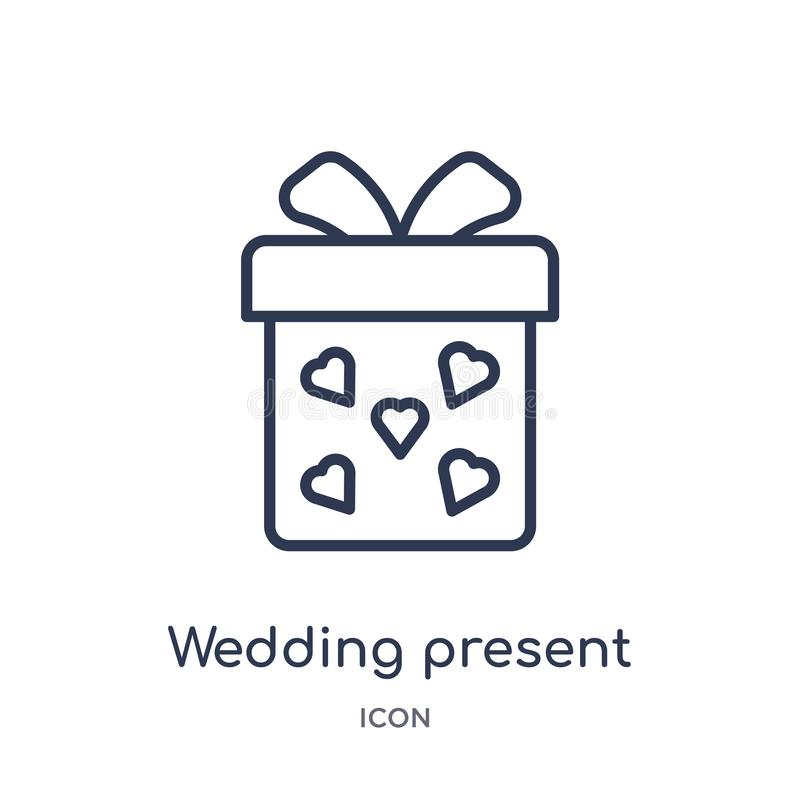 Linear wedding present icon from Birthday party outline collection. Thin line wedding present vector isolated on white background vector illustration
