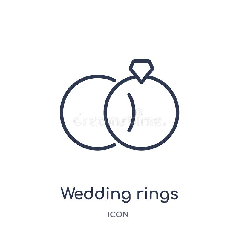 Linear wedding rings icon from Birthday party outline collection. Thin line wedding rings vector isolated on white background. vector illustration