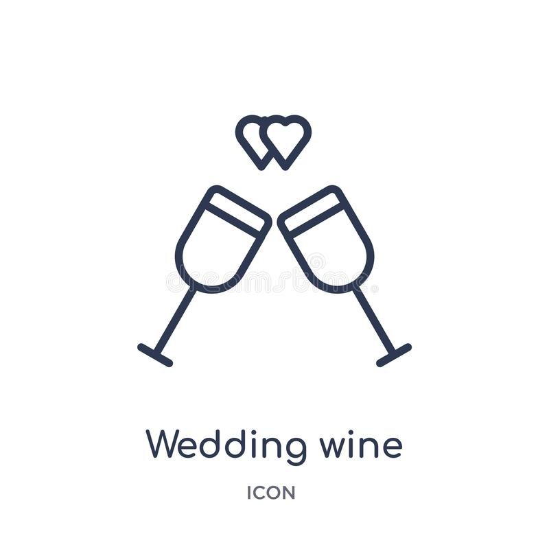 Linear wedding wine icon from Birthday party outline collection. Thin line wedding wine vector isolated on white background. vector illustration