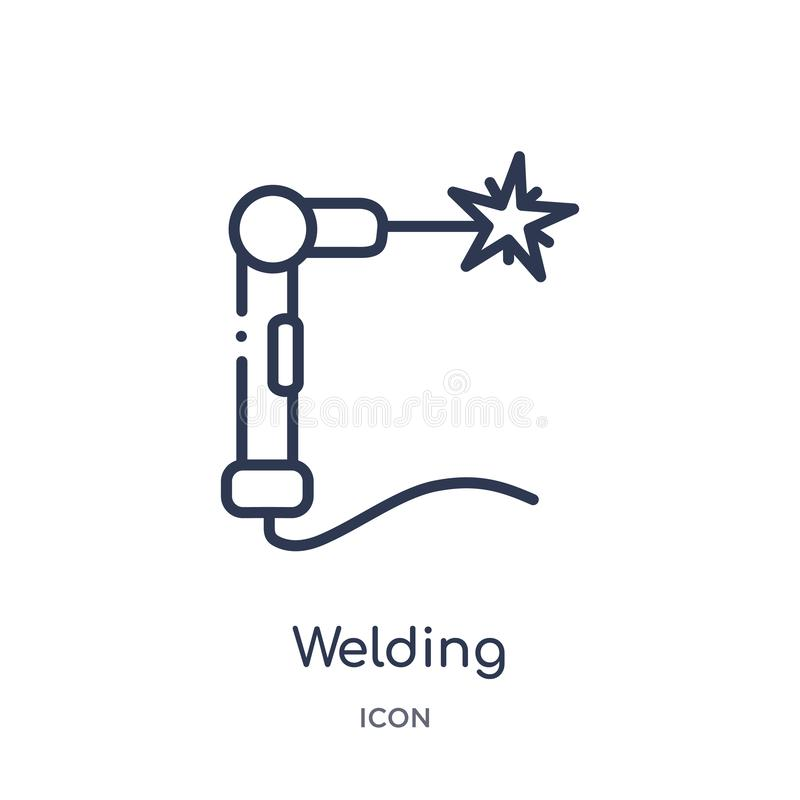 Linear welding icon from Industry outline collection. Thin line welding icon isolated on white background. welding trendy stock illustration