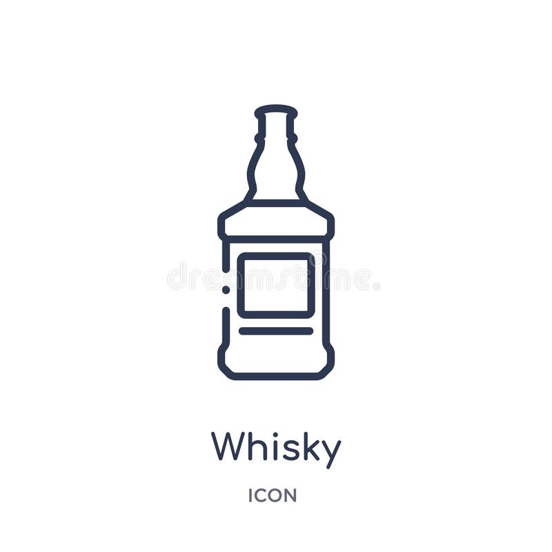 Linear whisky icon from Alcohol outline collection. Thin line whisky vector isolated on white background. whisky trendy royalty free illustration