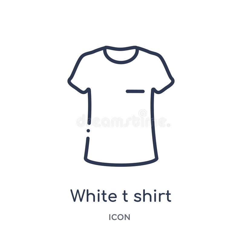 Linear white t shirt icon from Fashion outline collection. Thin line white t shirt icon isolated on white background. white t. Shirt trendy illustration vector illustration
