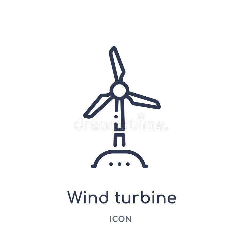 Linear wind turbine icon from Ecology outline collection. Thin line wind turbine vector isolated on white background. wind turbine royalty free illustration