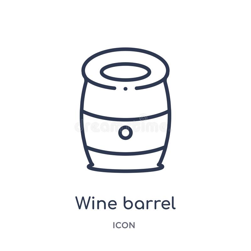 Linear wine barrel icon from Alcohol outline collection. Thin line wine barrel vector isolated on white background. wine barrel royalty free illustration