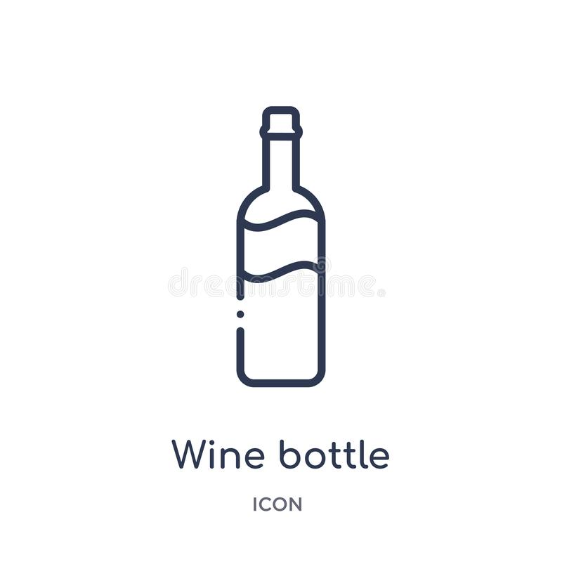 Linear wine bottle icon from Kitchen outline collection. Thin line wine bottle icon isolated on white background. wine bottle royalty free illustration