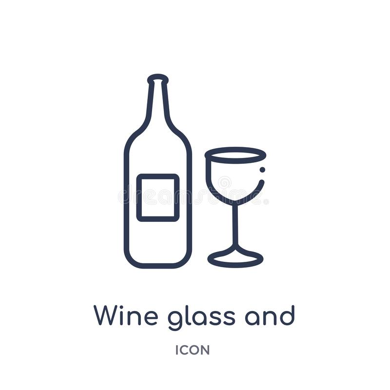 Linear wine glass and bottle icon from Food outline collection. Thin line wine glass and bottle icon isolated on white background stock illustration