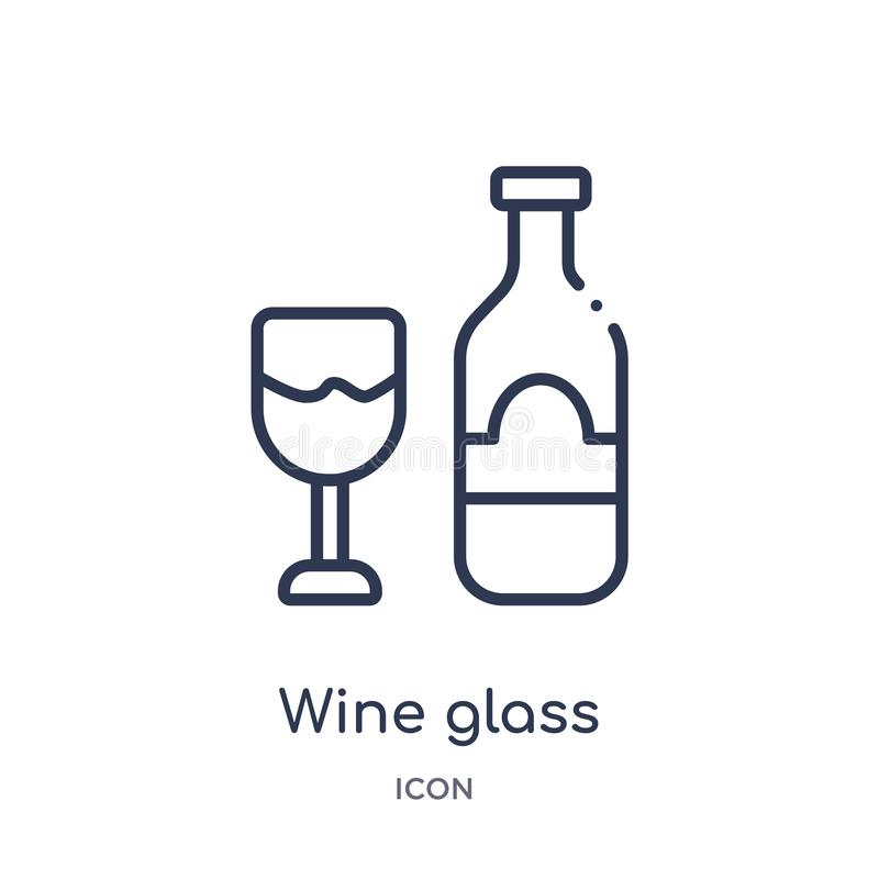 Linear wine glass icon from Hotel and restaurant outline collection. Thin line wine glass icon isolated on white background. wine stock illustration