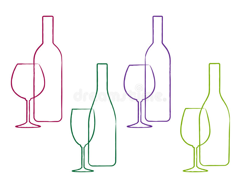 Linear wine set of bottle and glass stock illustration