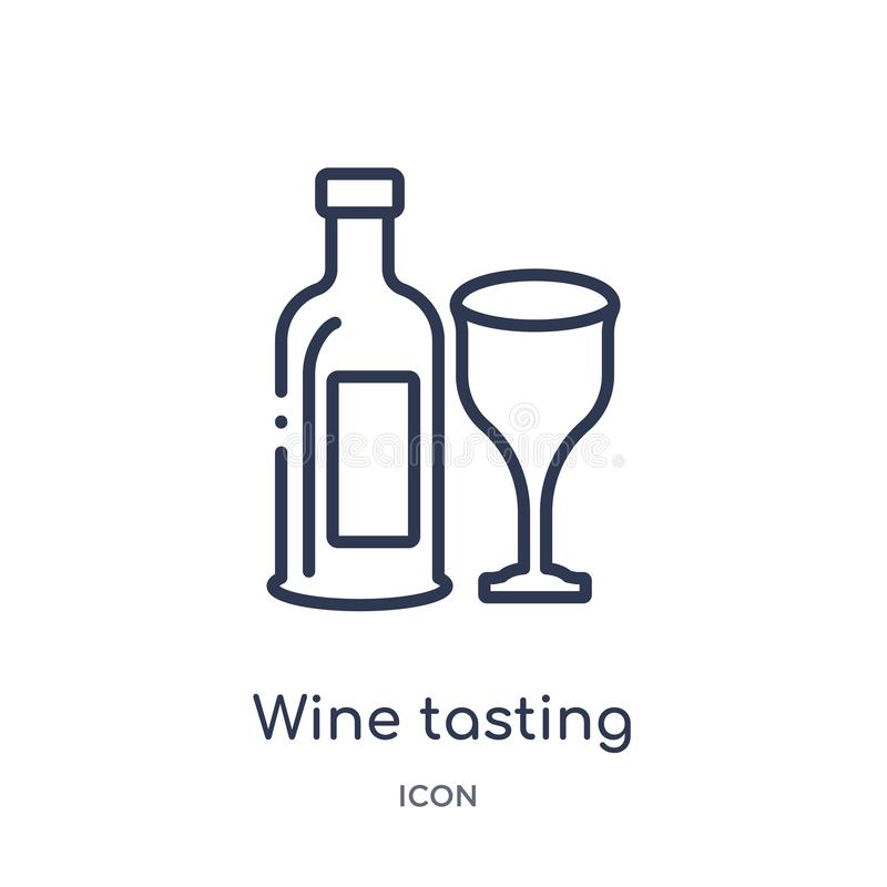 Linear wine tasting icon from Alcohol outline collection. Thin line wine tasting vector isolated on white background. wine tasting royalty free illustration