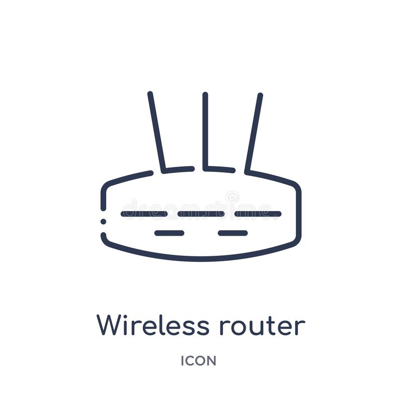 Linear wireless router icon from Internet security and networking outline collection. Thin line wireless router icon isolated on. White background. wireless vector illustration