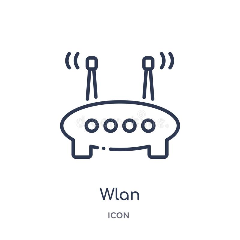 Linear wlan icon from Internet security and networking outline collection. Thin line wlan icon isolated on white background. wlan vector illustration