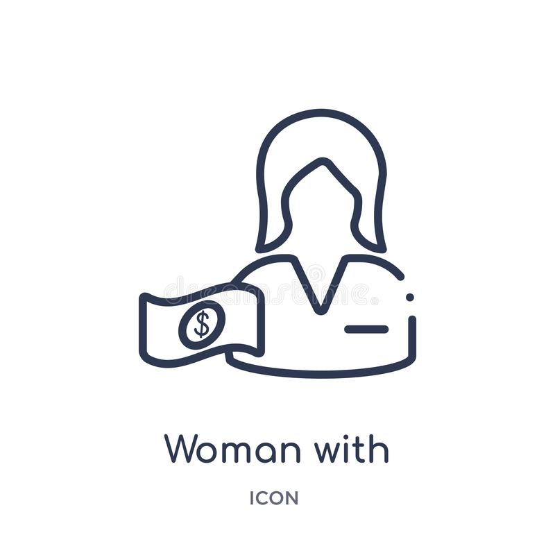 Linear woman with dollar bill icon from Business outline collection. Thin line woman with dollar bill icon isolated on white vector illustration