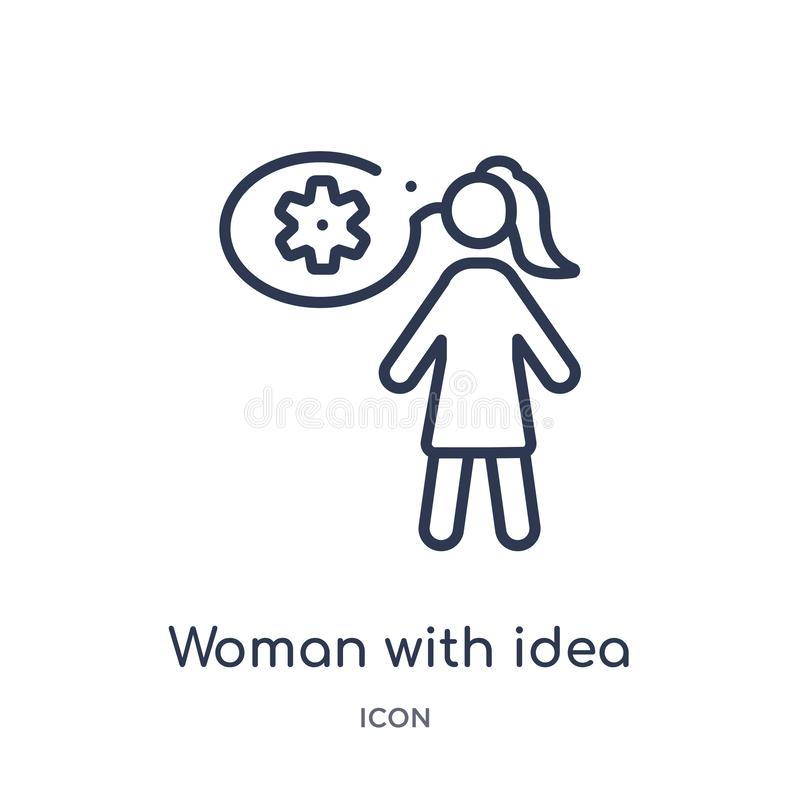 Linear woman with idea icon from Education outline collection. Thin line woman with idea icon isolated on white background. woman vector illustration