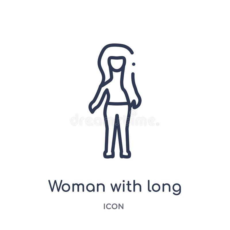 Linear woman with long hair icon from Ladies outline collection. Thin line woman with long hair icon isolated on white background stock illustration