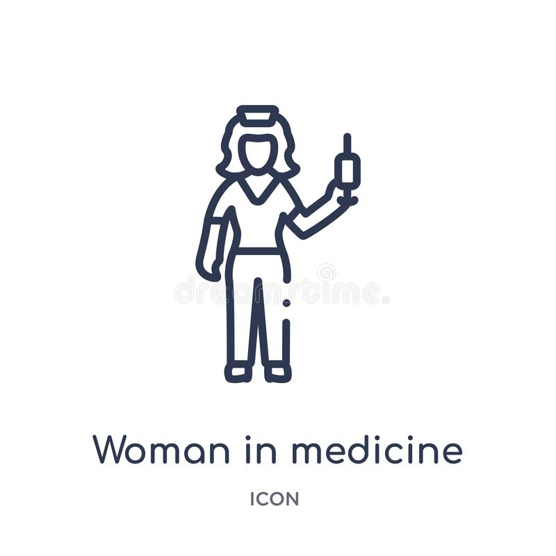 Linear woman in medicine icon from Ladies outline collection. Thin line woman in medicine icon isolated on white background. woman stock illustration