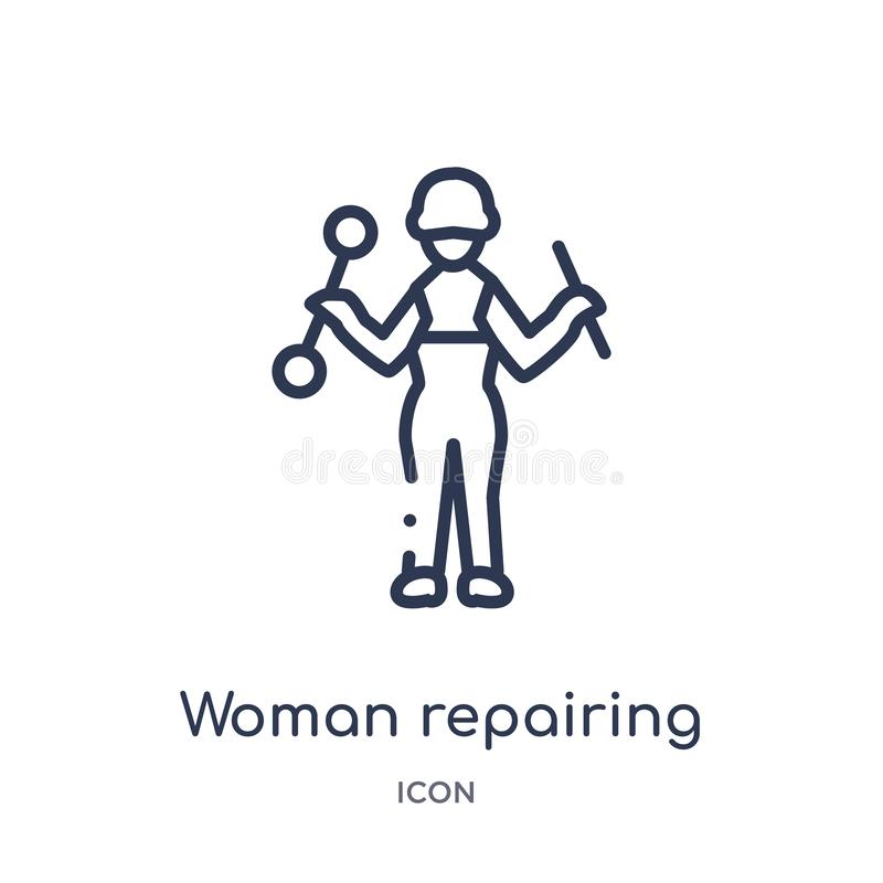 Linear woman repairing icon from Ladies outline collection. Thin line woman repairing icon isolated on white background. woman stock illustration