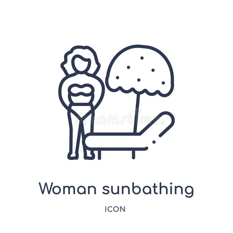 Linear woman sunbathing icon from Ladies outline collection. Thin line woman sunbathing icon isolated on white background. woman vector illustration