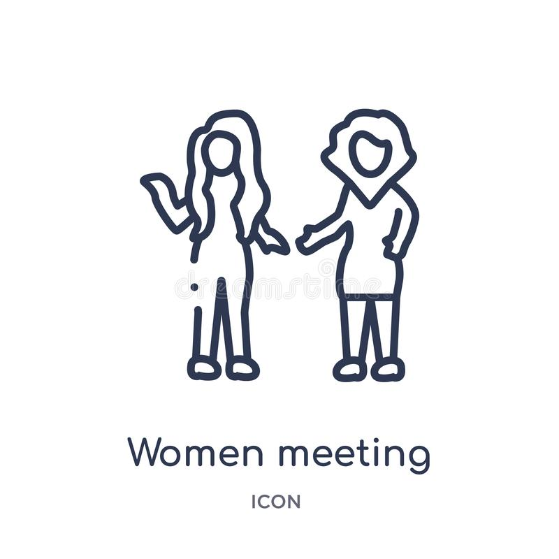Linear women meeting icon from Ladies outline collection. Thin line women meeting icon isolated on white background. women meeting royalty free illustration