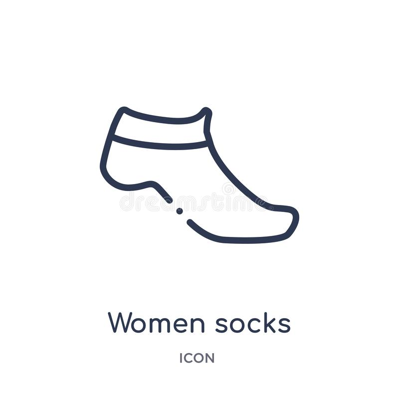 Linear women socks icon from Clothes outline collection. Thin line women socks vector isolated on white background. women socks stock illustration
