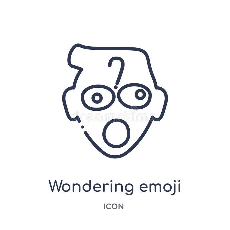 Linear wondering emoji icon from Emoji outline collection. Thin line wondering emoji vector isolated on white background. vector illustration