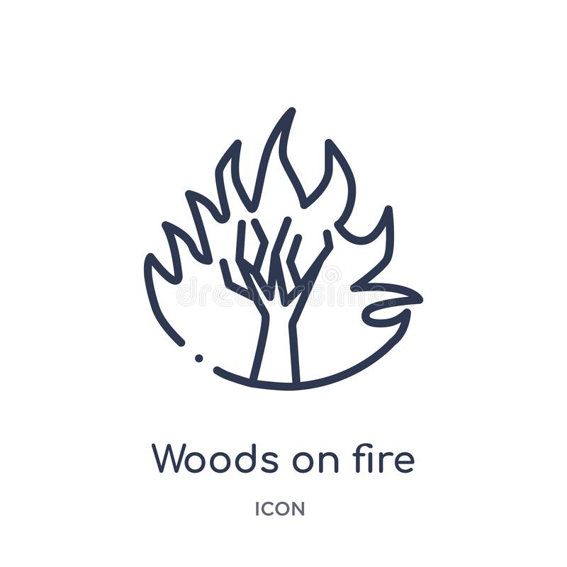 Linear woods on fire icon from Meteorology outline collection. Thin line woods on fire icon isolated on white background. woods on vector illustration